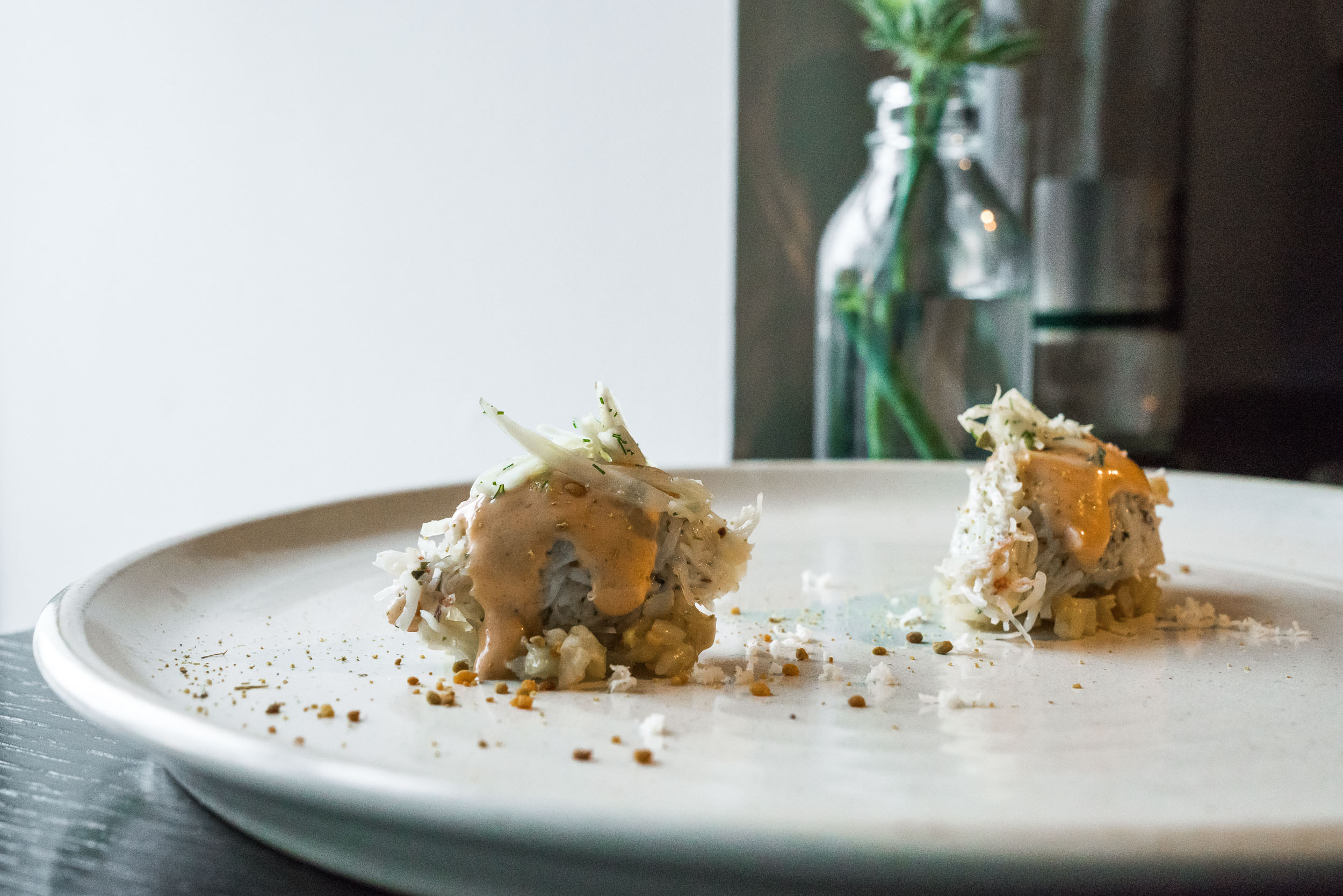 DUNVEGAN CRAB - pickled fennel — brown crab ketchup — pollen
