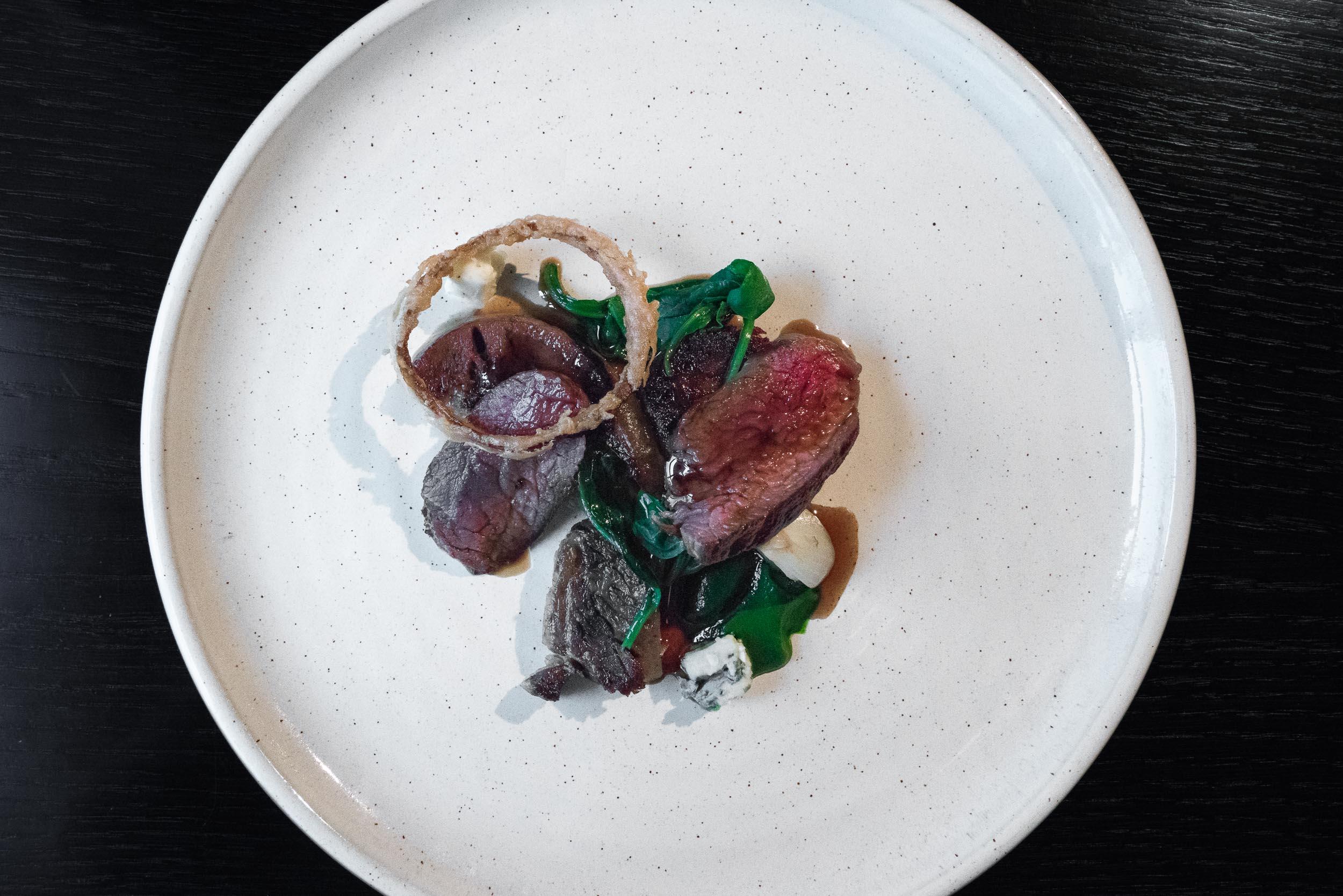 ORBOST FARM BEEF - onion — new season garlic — starthdon blue