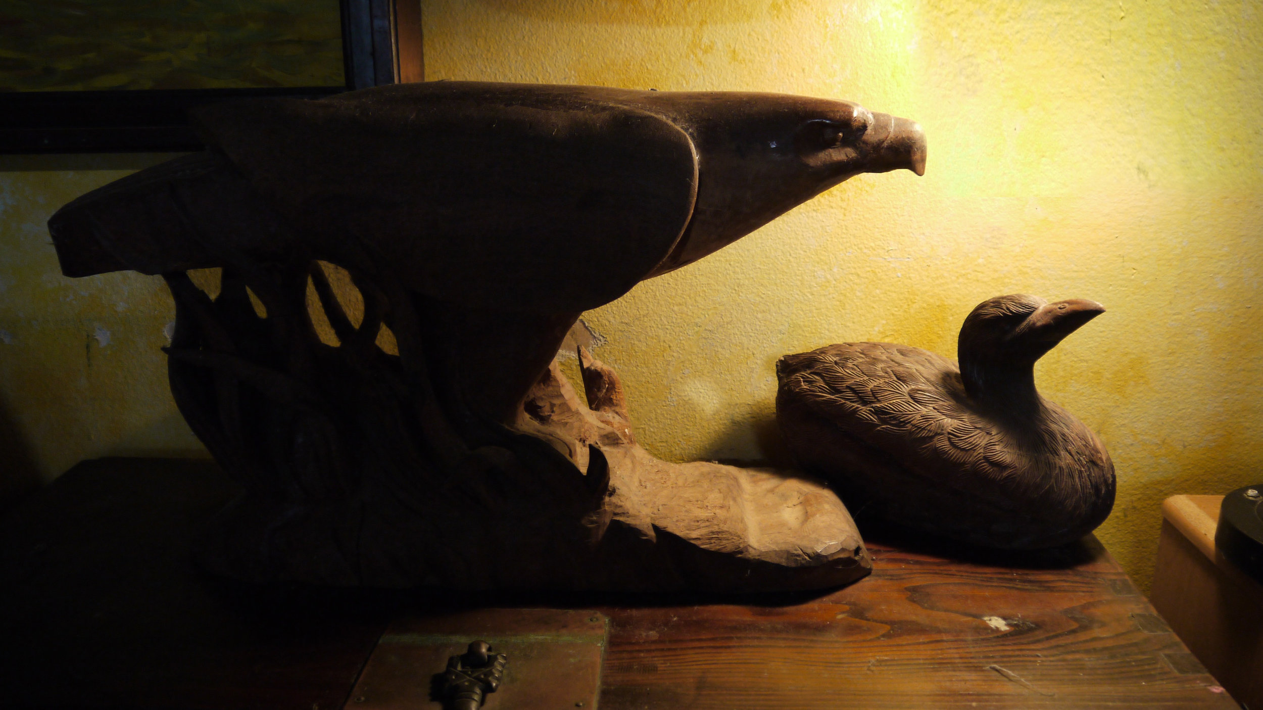 Wood Sculpture: Eagle and Duck