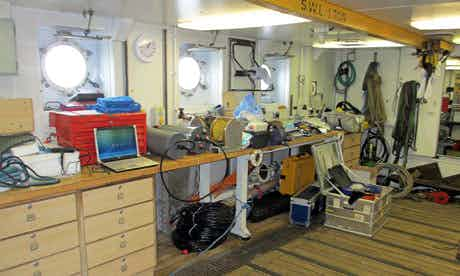 This is my workspace, home to all my experimental gear for the next month. It isn't glamourous but it does have portholes. Photograph: Helen Czerski