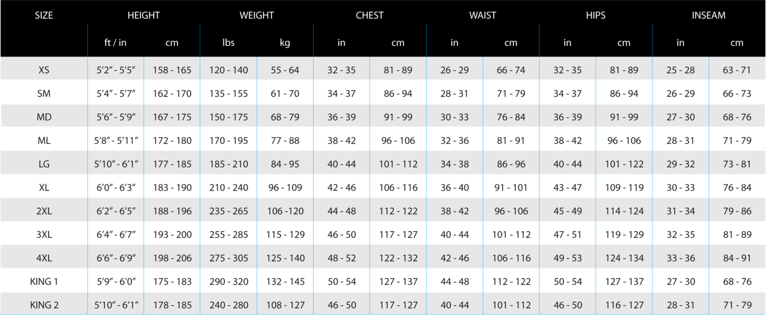 Polytherm Mens -  King sizes are for larger men of average height.