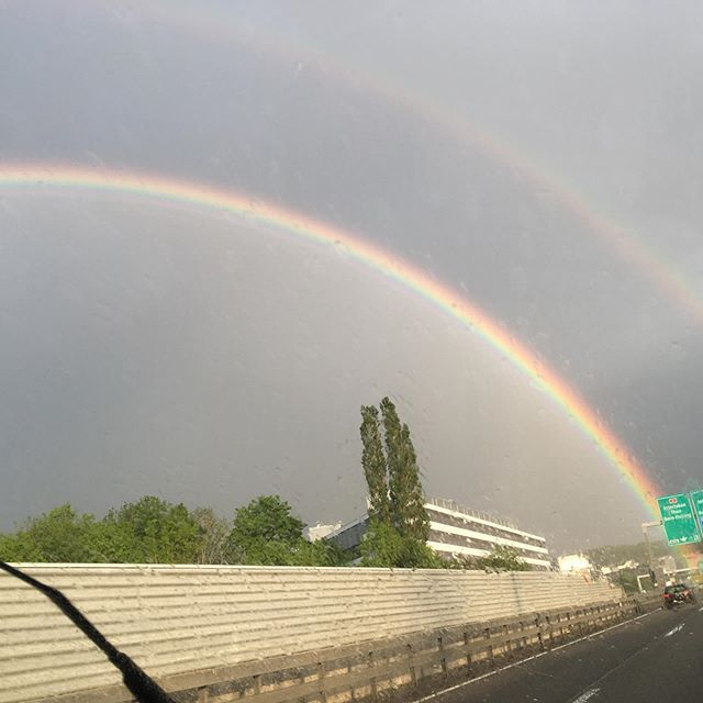 on the way to mix the new songs #nofilter #bern #rainbow #signs #newmusic #coming #soon