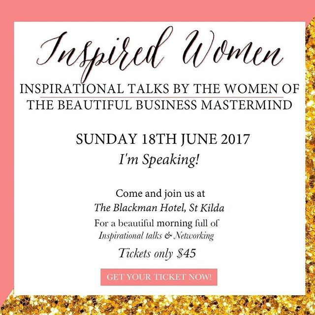 I am so excited (and a little freaked out) that I will be speaking at my very first event next month!  @theeventhead annual Inspired Women event! ... It is going to be an amazing day filled with inspiring talks from some incredible women! I will be talking about Equine Assisted Learning and how working with horses helps us to step into Awareness and Embodiment. ... I would love to see you there! Tickets can be purchased through the link in my bio! . . #helloyescoaching #inspiredwomen #melbourneevent #lifecoach #speaking #freakingout
