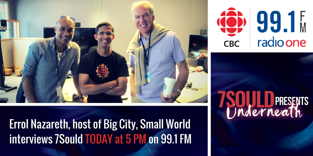 Joaquin Nunez, Errol Nazareth, Mark Daniels at the CBC Big CIty Small World interview with Really Big World (formerly 7Sould)
