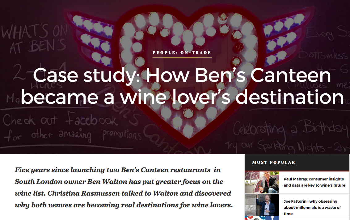 Ben's Canteen becomes a wine destination