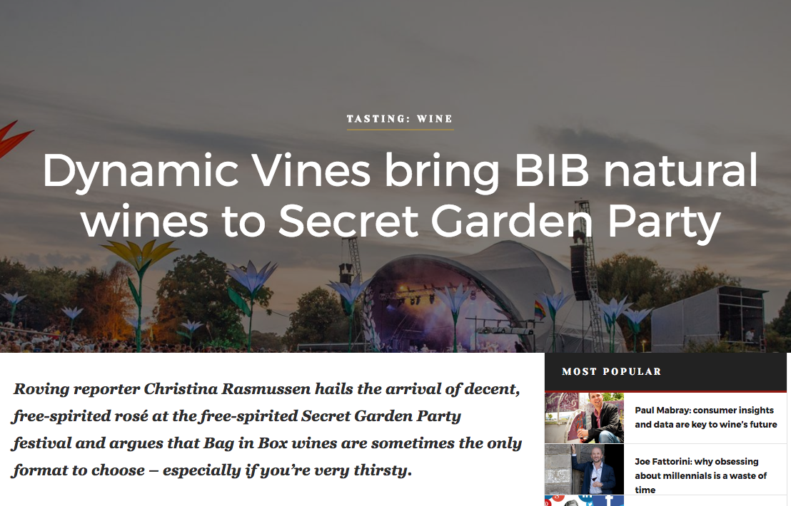 Dynamic Vines' BIB wines at Secret Garden Party