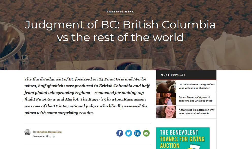 Judgment of BC: Pinot Gris and Merlot