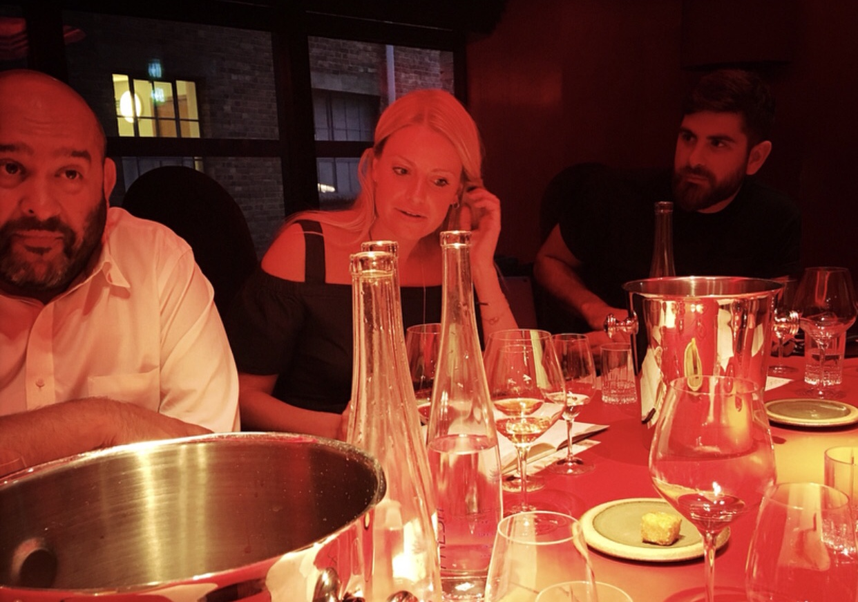 Mid discussions - Raj Parr, myself, Angelo van Dyk bathed in red