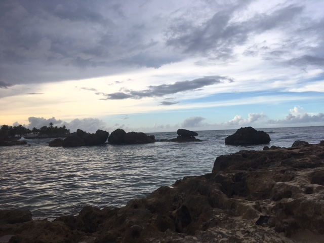 The ocean and coral rocks at a small beach where I went (!) cliff diving
