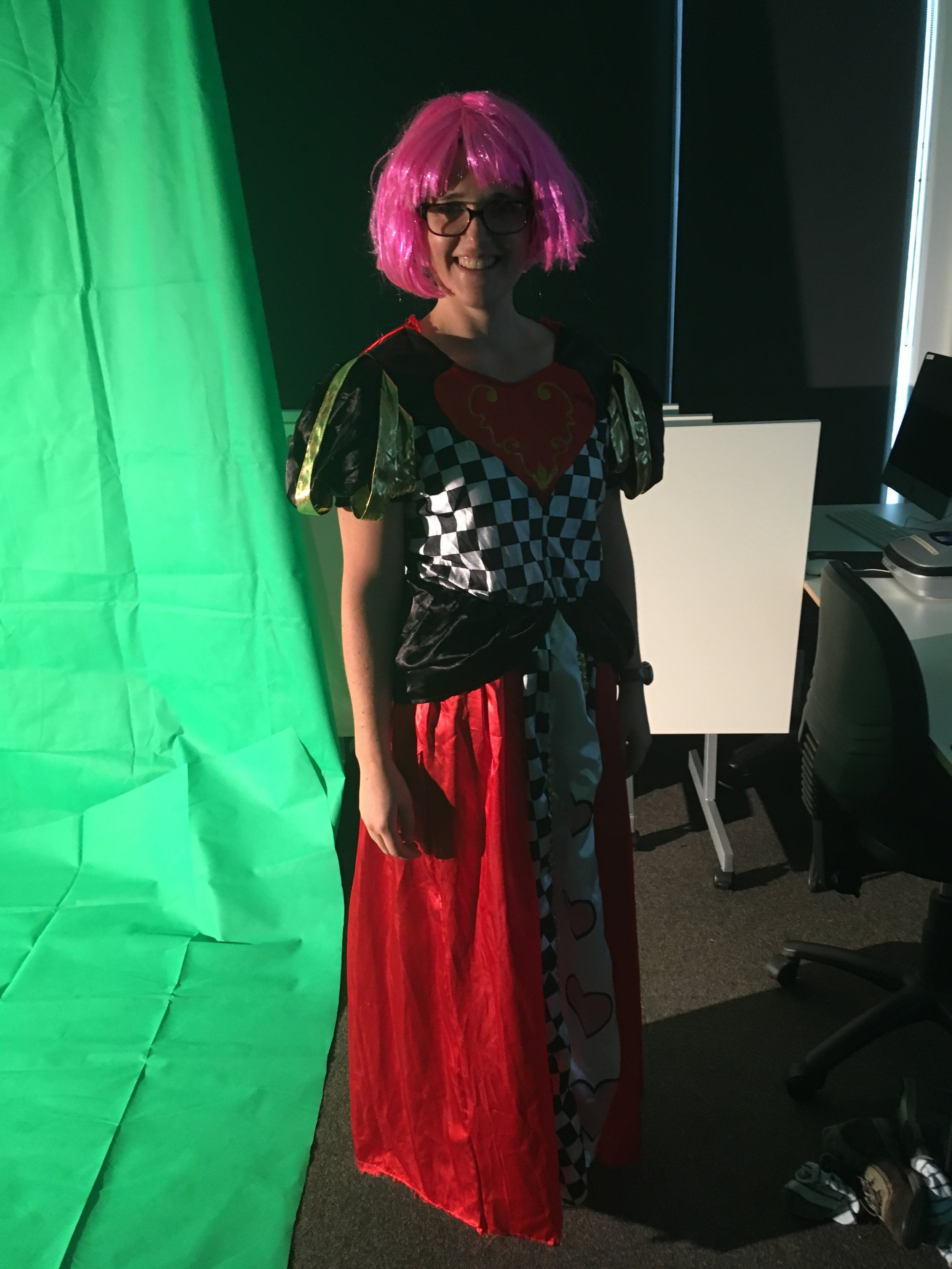 Mary-Ann as Queen of Hearts preparing for green screen experiment