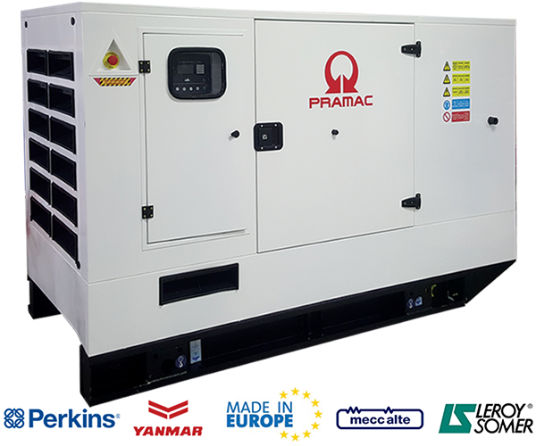 Pramac Industrial - · Power: 60Kw to 200Kw· Fuel: Diesel· Compact Design.· Easy Maintenance.· Silent (Low Noise).· Yanmar or Perkins Engine.· Mecc Alte or Leroy Somers Alt.· Liquid Cooled.· Operator Friendly.Download PDF>Request Service>Request Parts>