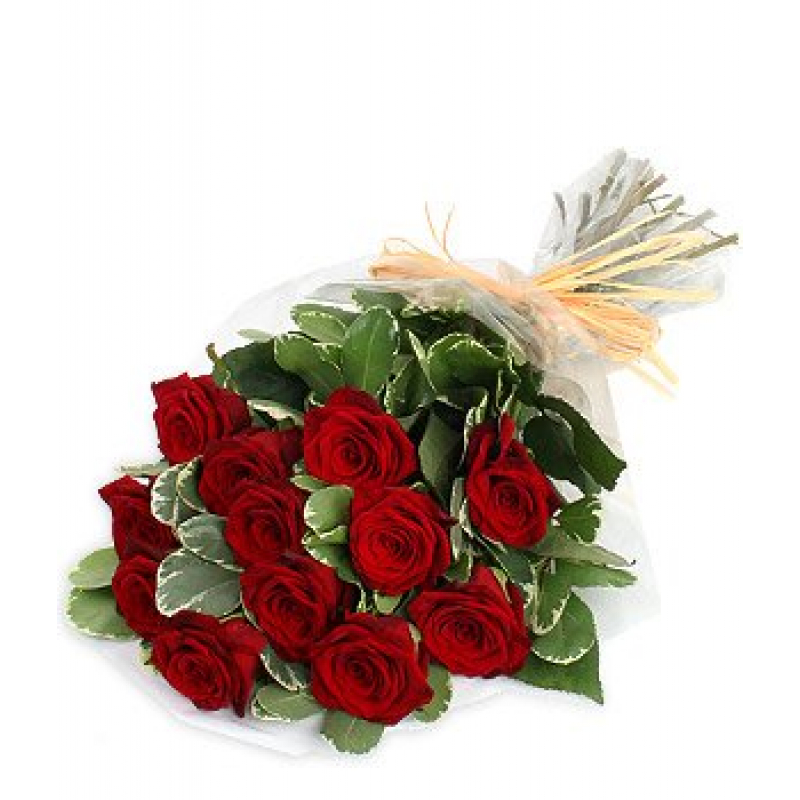 Dozen Red Roses Bouquet -12 long stem red roses arranged with beautiful greenery in a hand held bouquet. ($85)