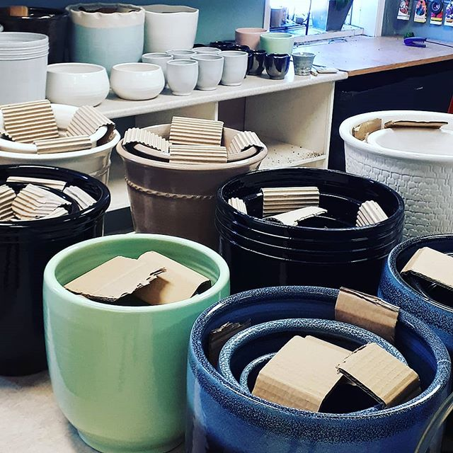 Tons of new pits hitting the floor today #ceramics #pammettsflowers #ptbolove #style #pottery #glazed #supportlocal #new #colourful