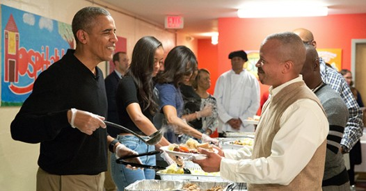 President Obama serving meals at our St. Luke's Mission Center on Thanksgiving Day 2016.