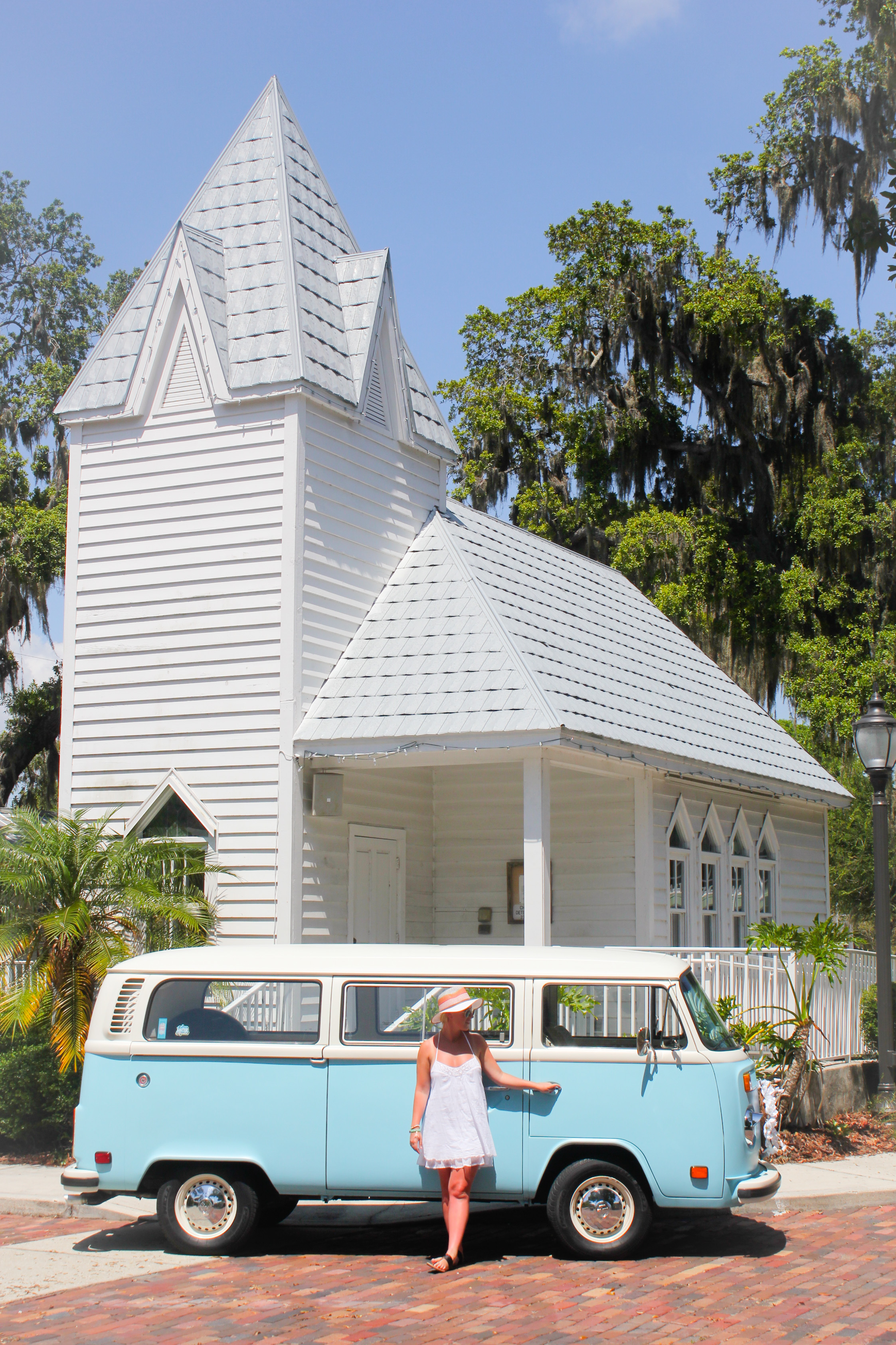 VW photo booth bus at chapel in Bradenton.