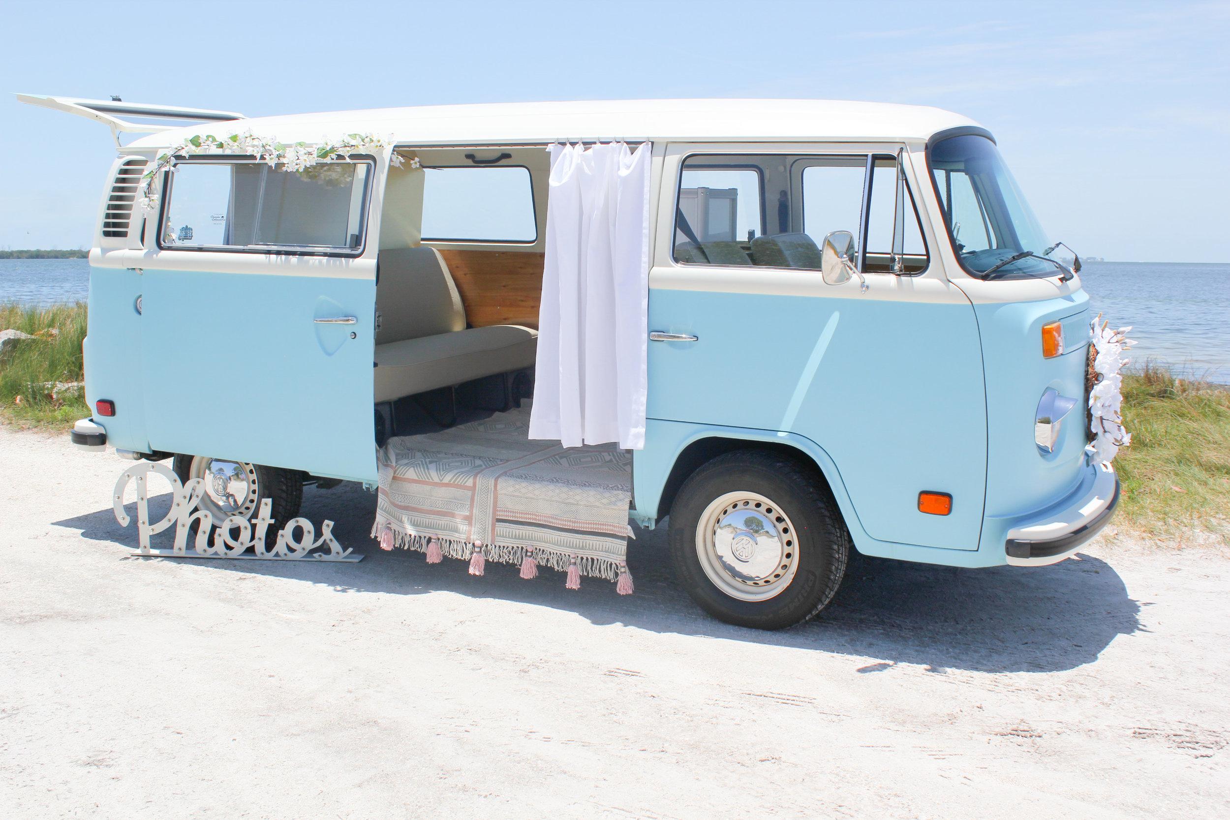 VW Photo Bus at the beach on Anna Maria Island.