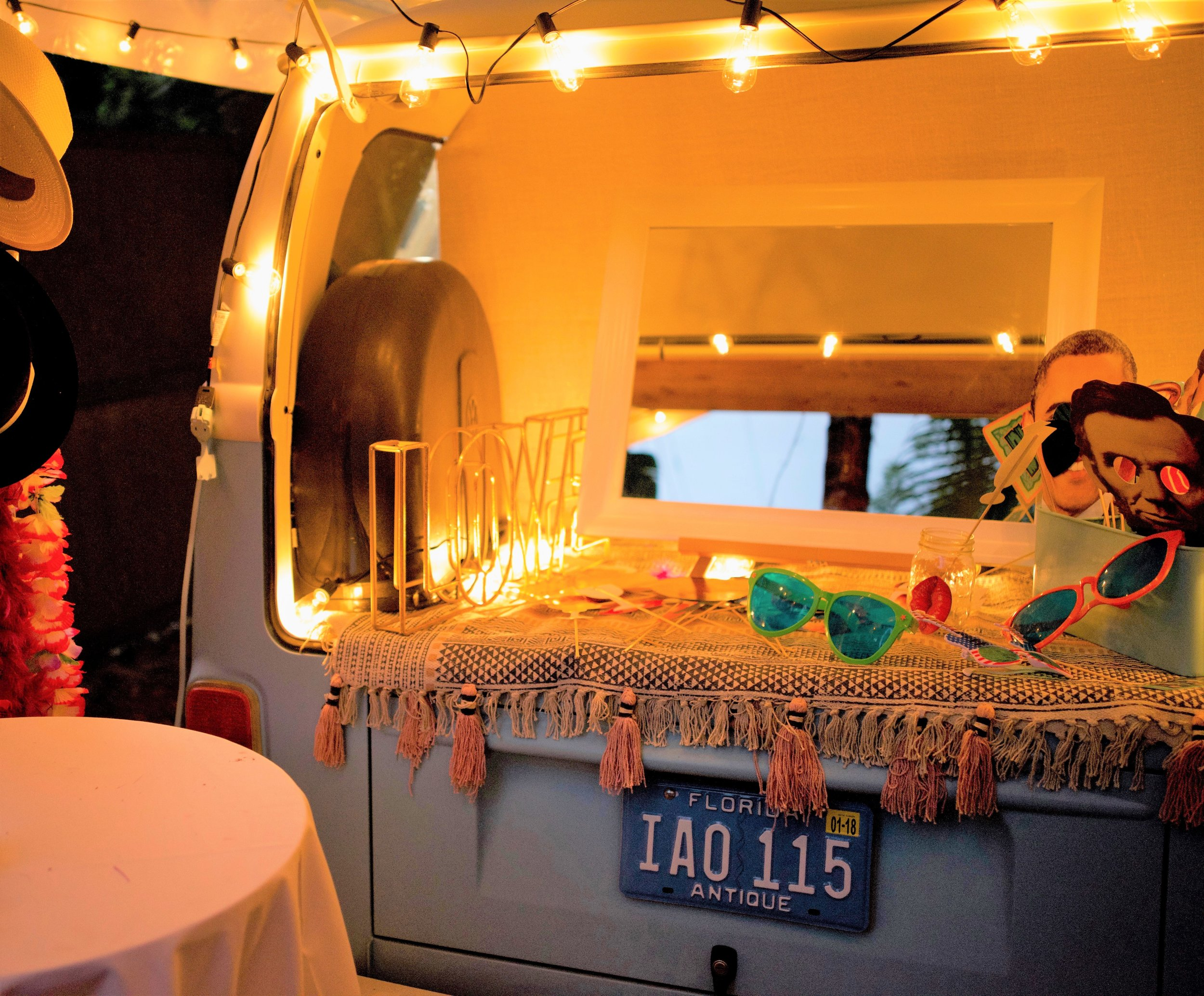 More props in the VW bus photo booth in Bradenton FL