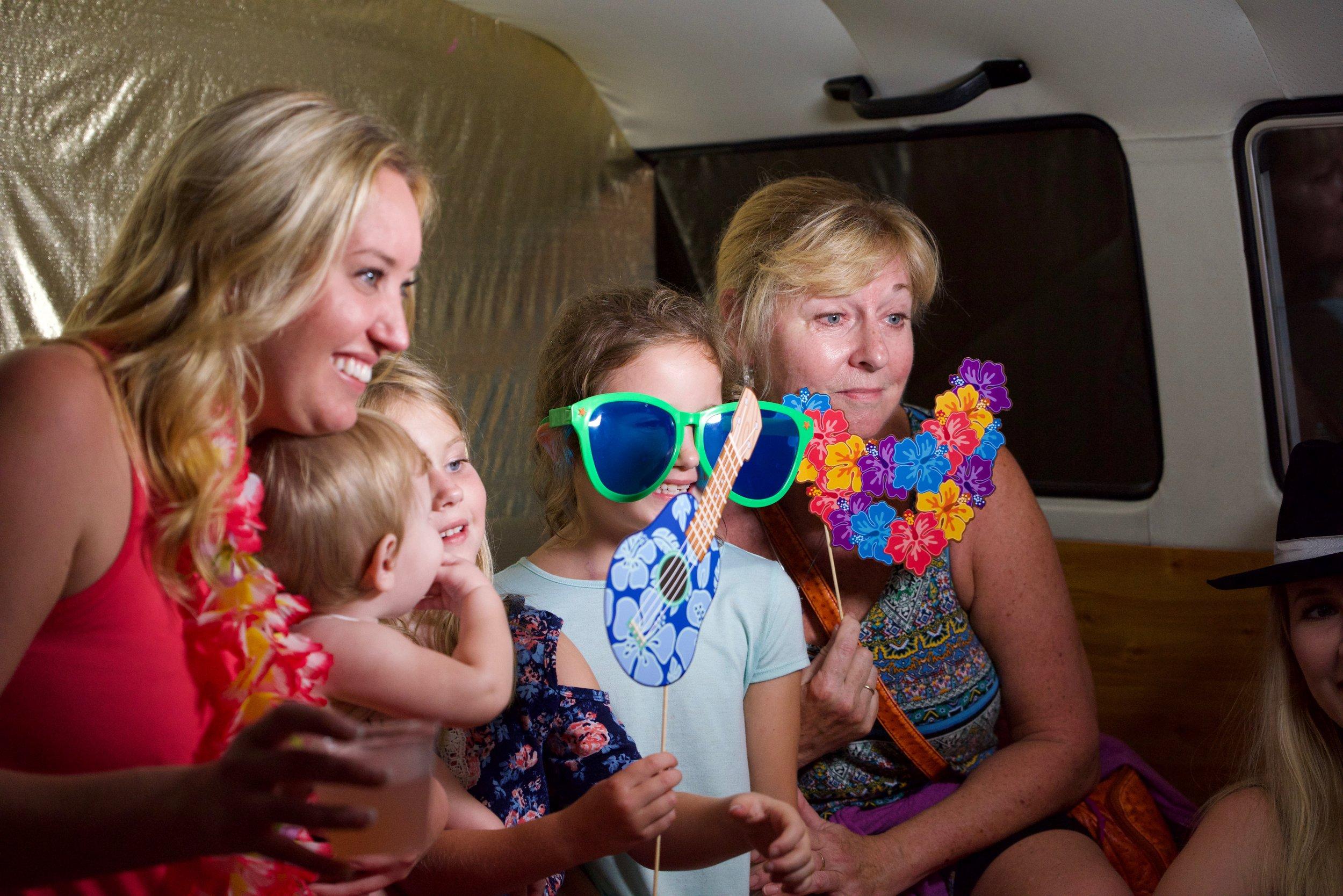 Family fun in the VW bus photo booth in Bradenton FL