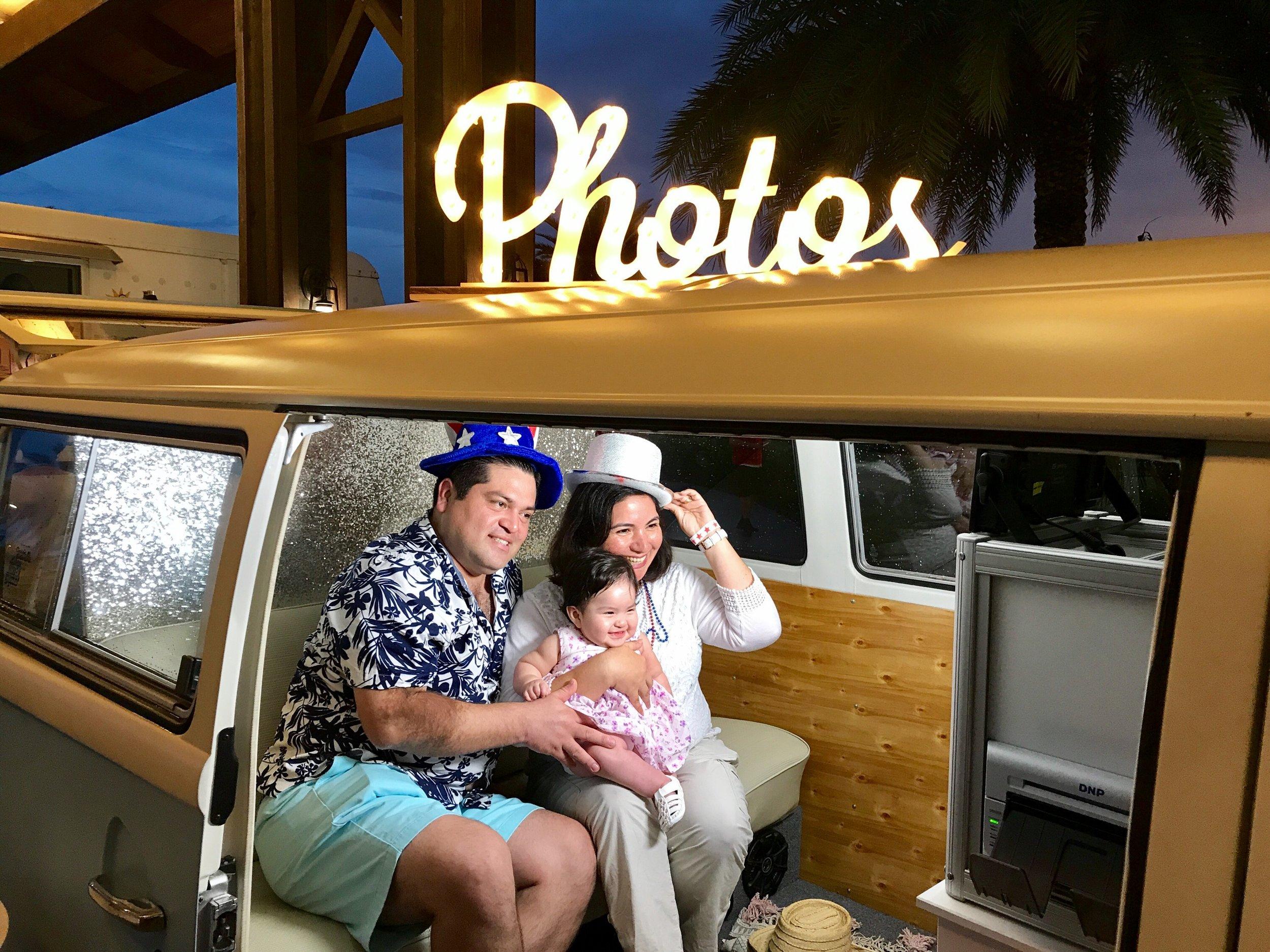 Family photo in the VW bus photo booth- Bradenton FL