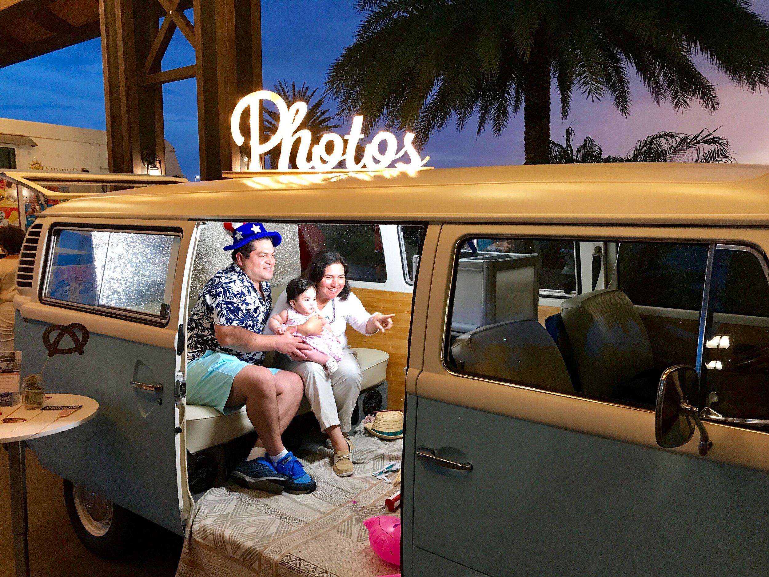 family fun in the VW bus photo booth in Bradenton FL.