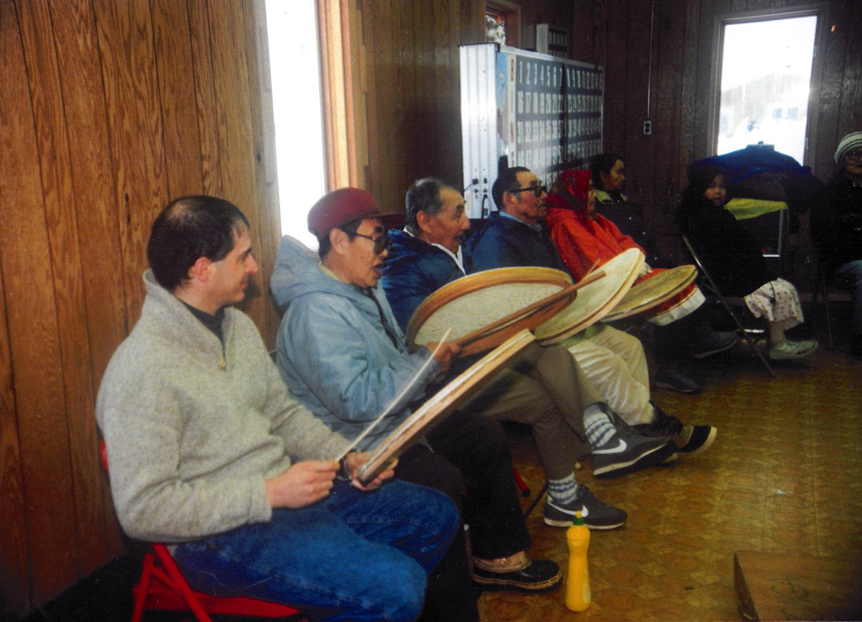 drumming with elders, Savoonga, St. Lawrence Island, Alaska