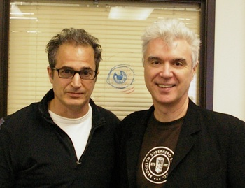 with David Byrne at Hanson Robotics