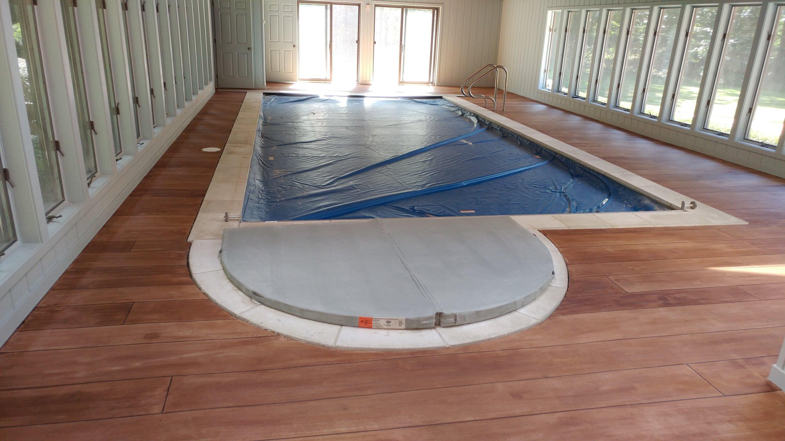 Rustic Concrete Wood Pool Deck