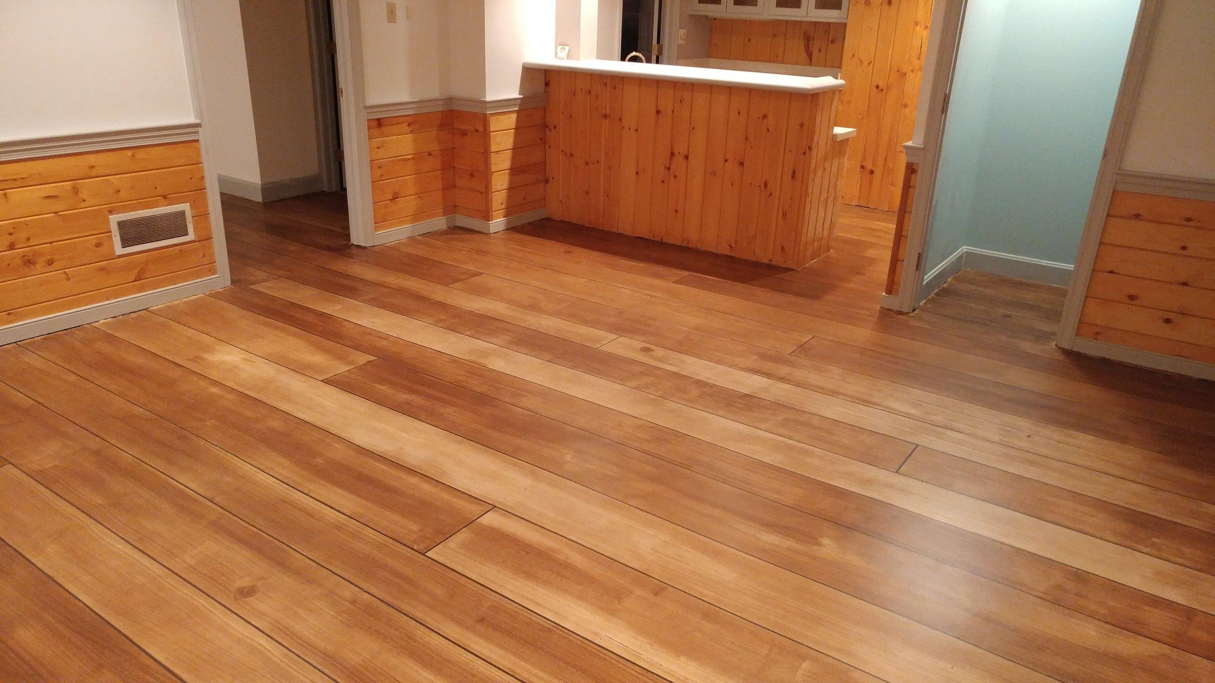Rustic Concrete Wood Basement