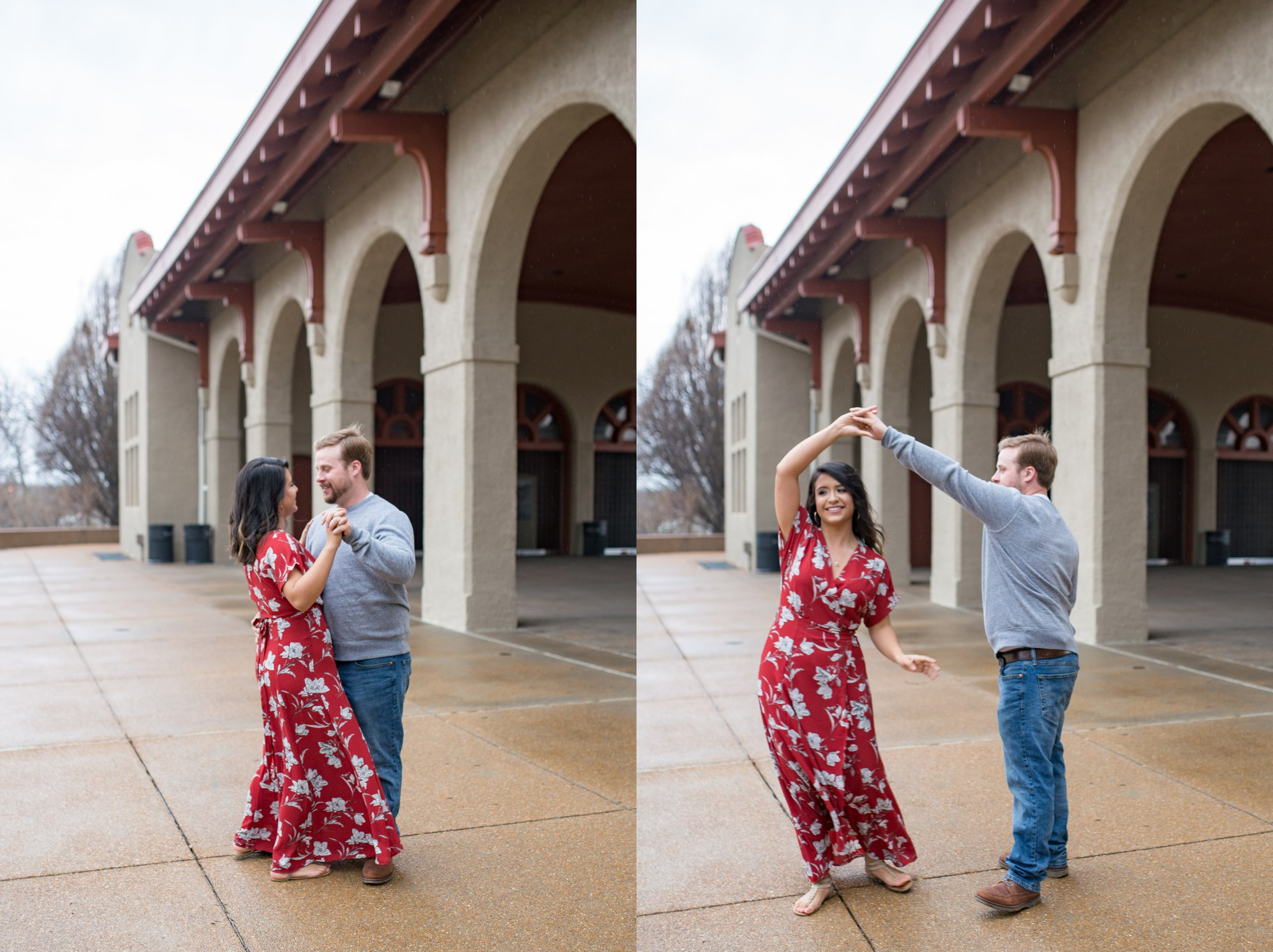 Dancing at Forest Park in St Louis Engagement Session