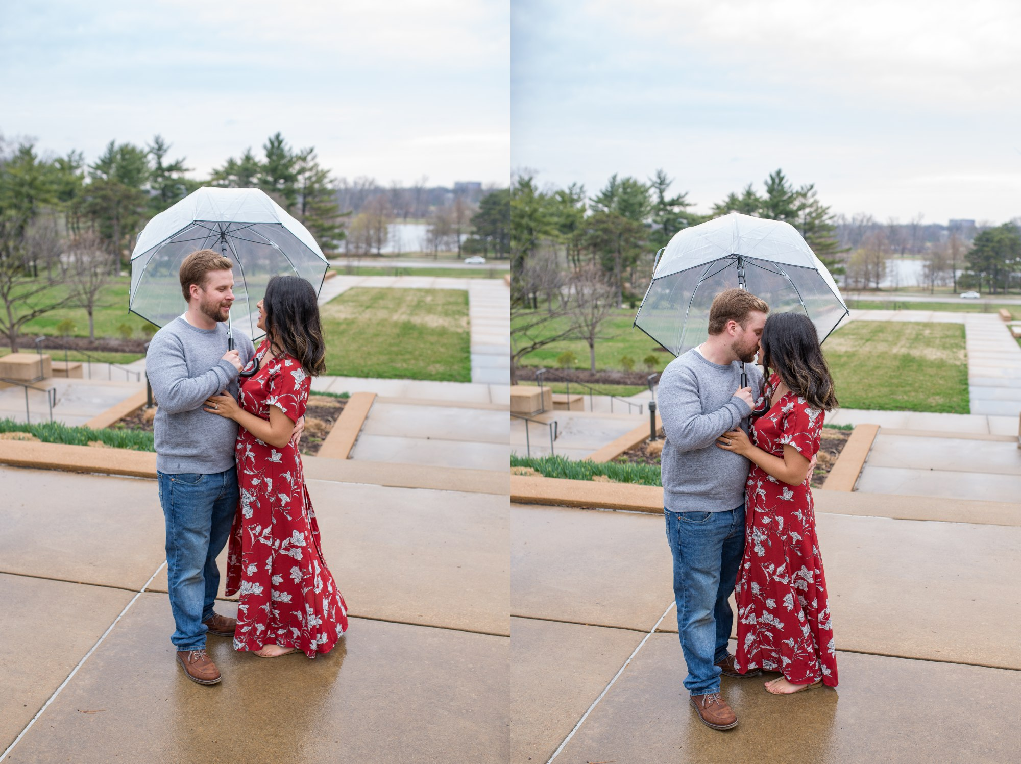Kissing in the rain engagement session
