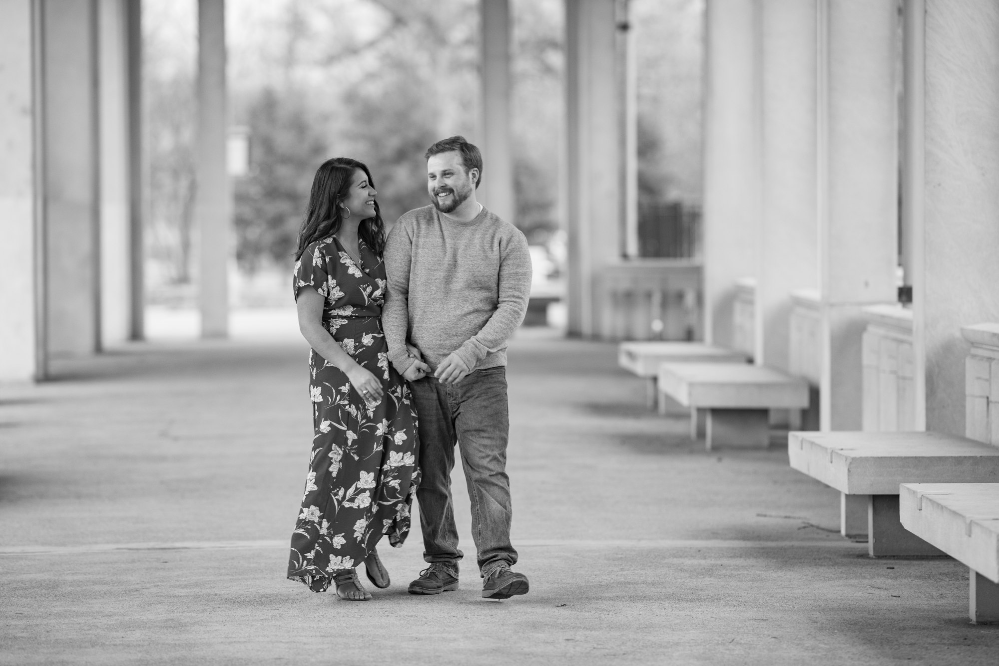 Laughing Black and White Engagement Session