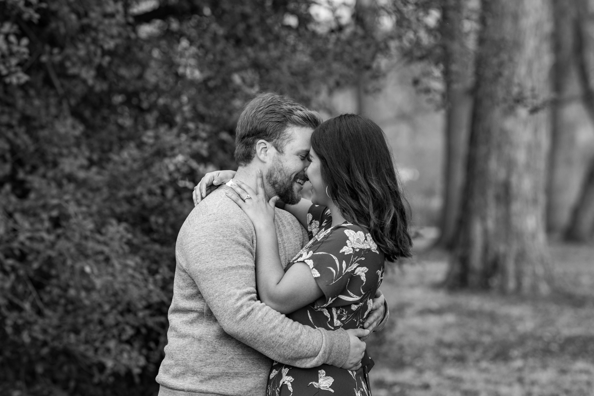 Romantic Black and White Engagement Session Forest Park St Louis Mo