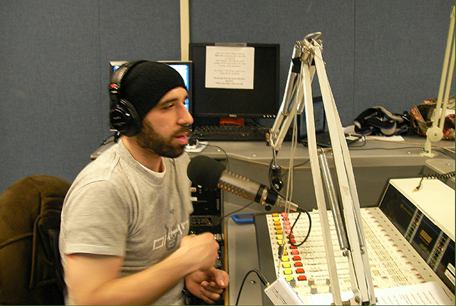 Chris broadcasting on the air