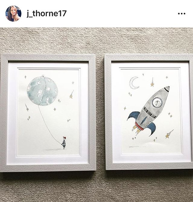 🙌🏼 all framed looking beautiful . . . . . #illustration #illustrator #commission #frame #grey #bookstagram #childrens #draw #ink #books #creative #baby #nursery #moon #stars #minimal #design #rockets #galaxy #print #artwork #paint #dreams #instaart #interiors #printmaking #littleinklondon