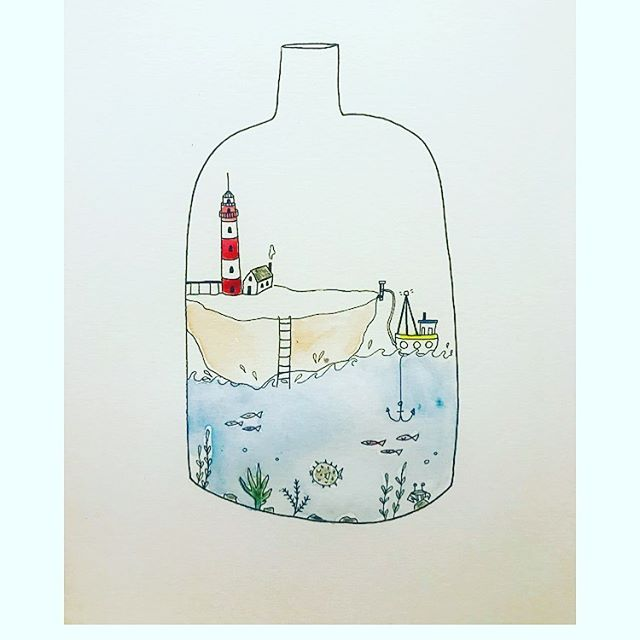 Little world 🗺 . . . . illustration #illustrator #draw #ink #stationery #bookstagram #instaart #paint #watercolour #animals #characters #sea #bottle #small #print #handmade #etsy #artwork #stories #design #sketchbook #narrative #branding #minimalism #storyboard #womenwhodraw #fisherman #books #littleinklondon . . .