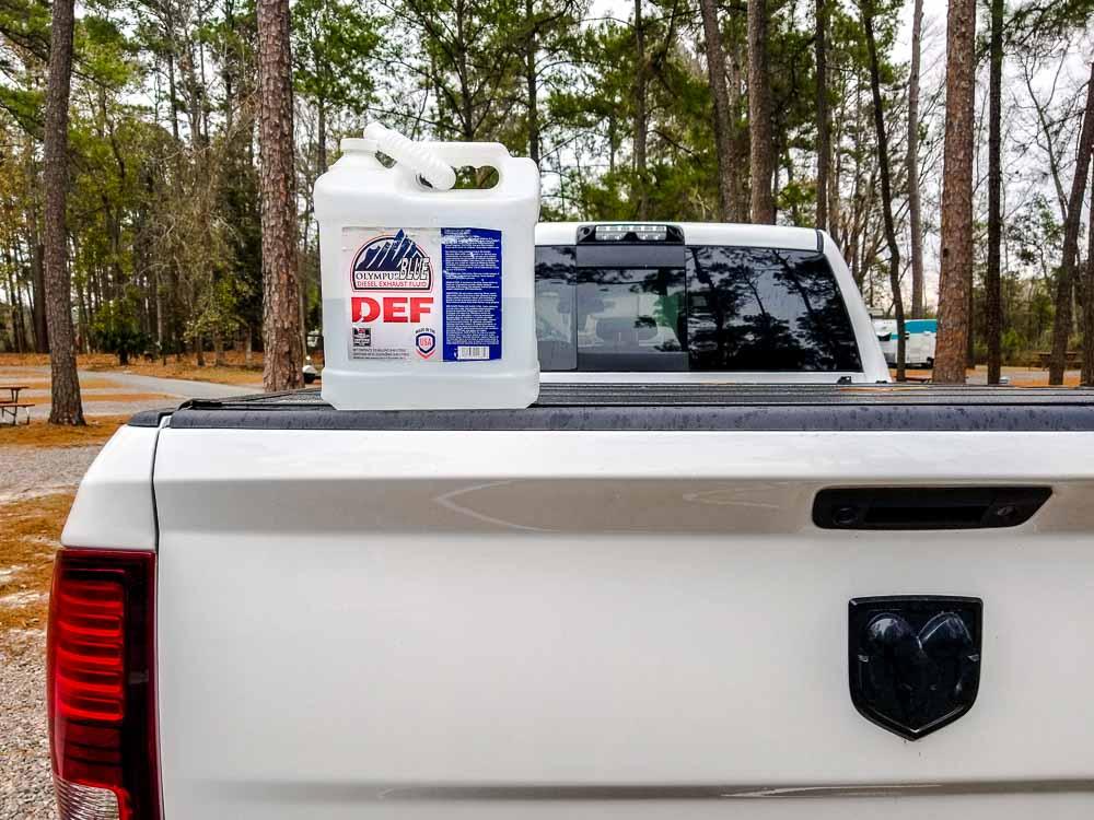 A 2.5 gallon jug of DEF