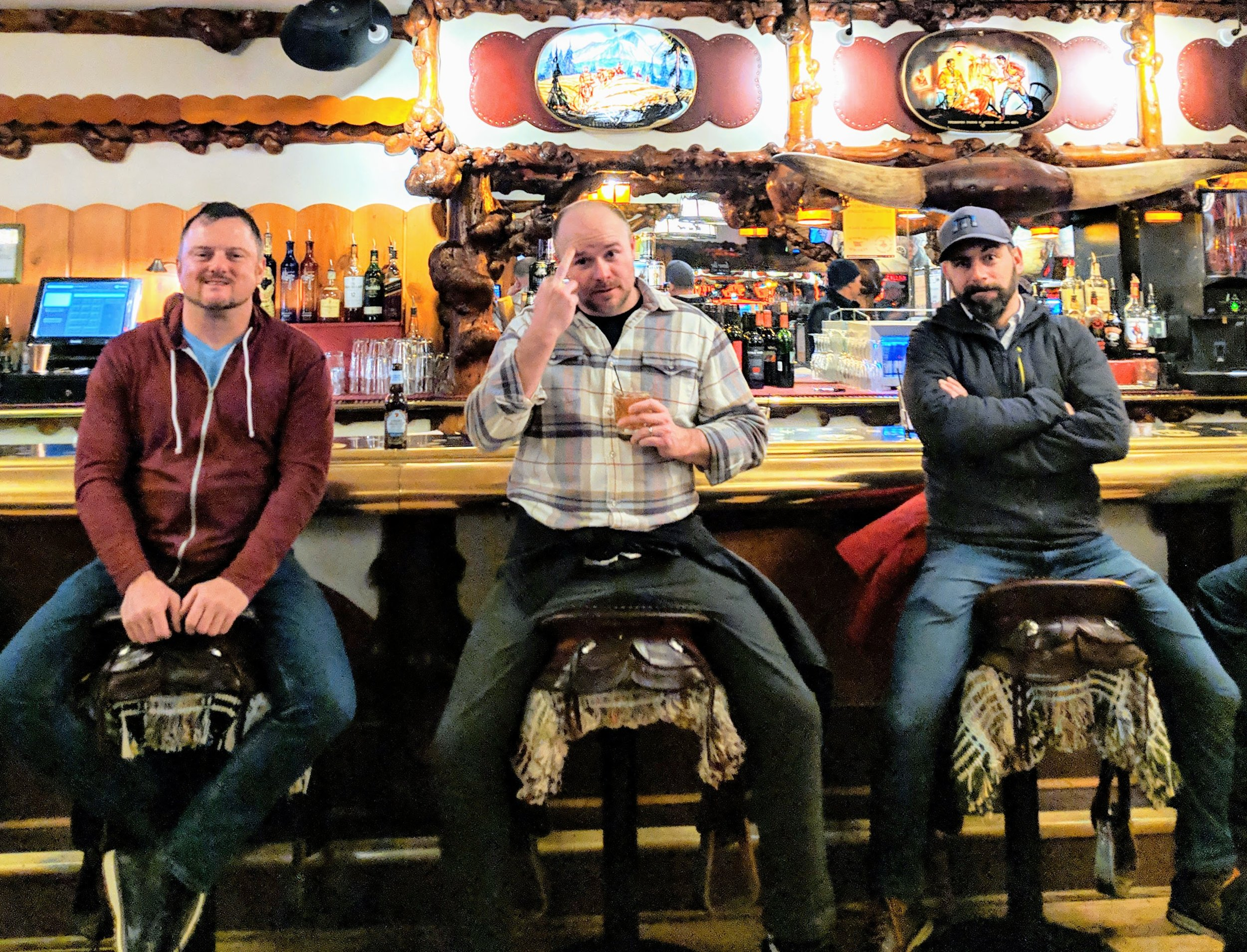 At the Million Dollar Cowboy Bar in Jackson, WY with Mike and Dean | Jan 2019