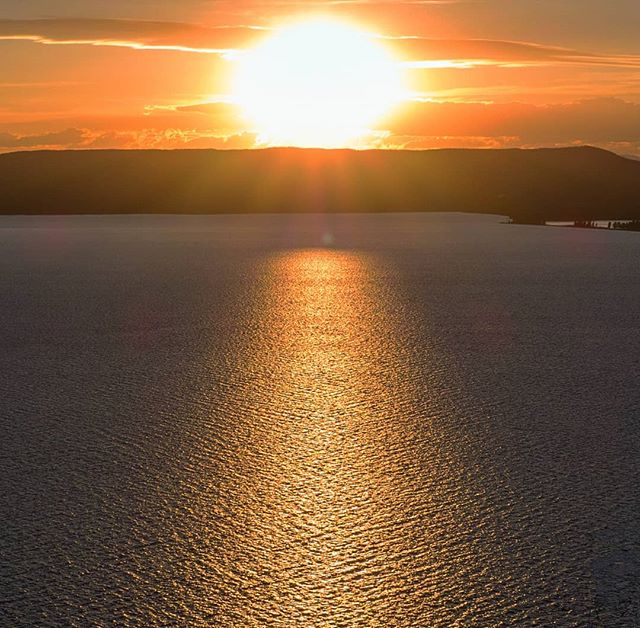 Sunset over the 136 square mile Yellowstone Lake.