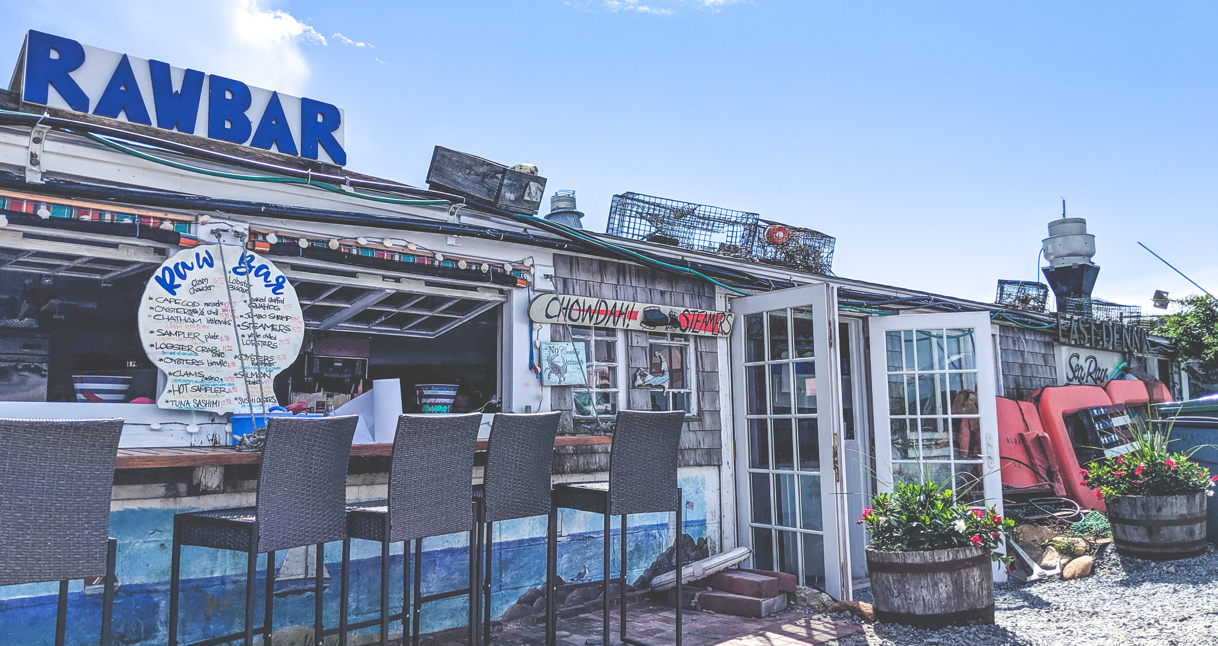 The Sesuit Harbor Cafe is a great spot for a some seafood. Unless it's Saturday night of July 4th weekend.
