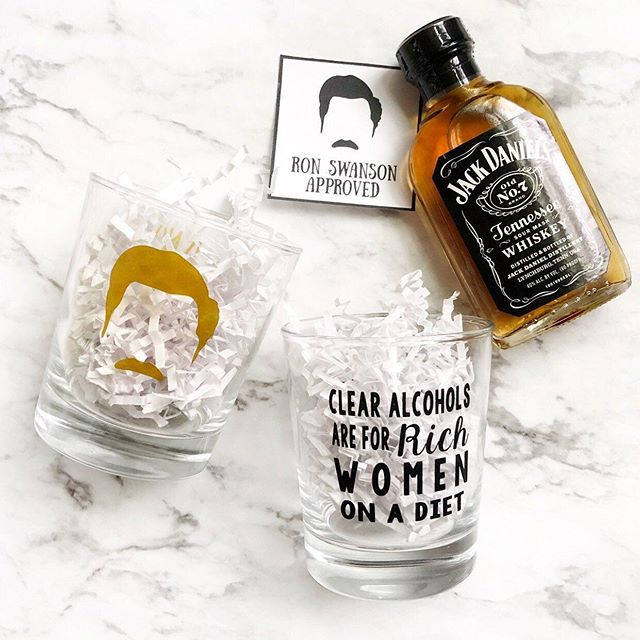 Father's Day is just one week away, did you get your favorite guy a Ron Swanson glass yet with some whiskey to show him how much he really means to you? Don't worry every glass is Ron approved and trust me your man will approve too 😉 {four different quotes to choice from and three different font colors - order by tomorrow to receive your gift before Father's Day}