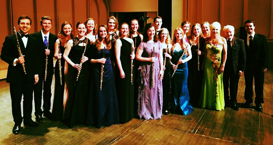 - CU Flute studio 2017 with Sir James and Lady Galway