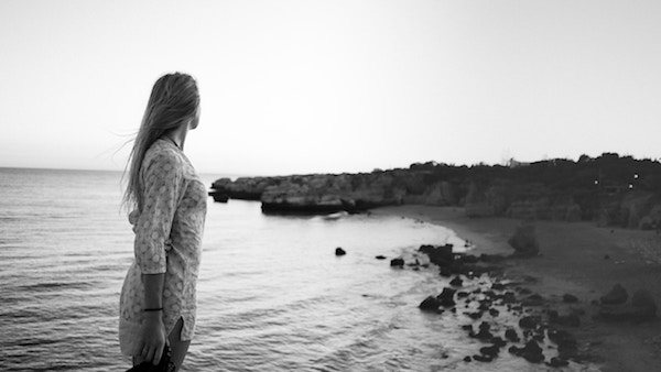 soul searching, woman on beach