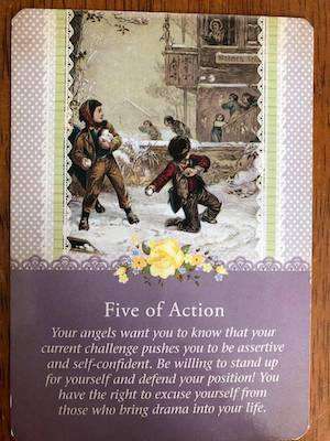 FIVE OF ACTION: Guardian Angel Tarot by Radleigh Valentine (and Doreen Virtue)