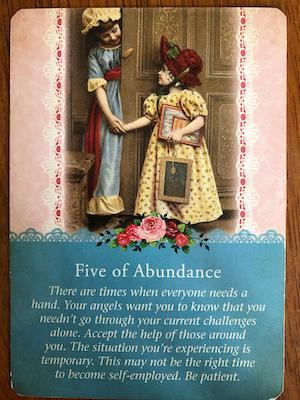 FIVE OF ABUNDANCE: Guardian Angel Tarot by Radleigh Valentine (and Doreen Virtue)