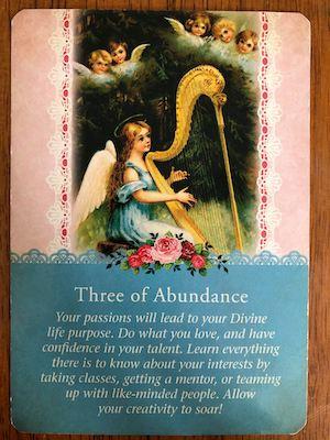 THREE OF ABUNDANCE: Guardian Angel Tarot by Radleigh Valentine (and Doreen Virtue)