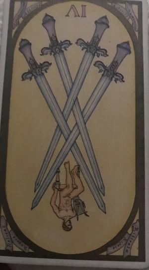 FOUR OF SWORDS (reversed): Renaissance Tarot by Brian Williams