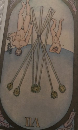 SEVEN OF WANDS (reversed): Renaissance Tarot by Brian Williams