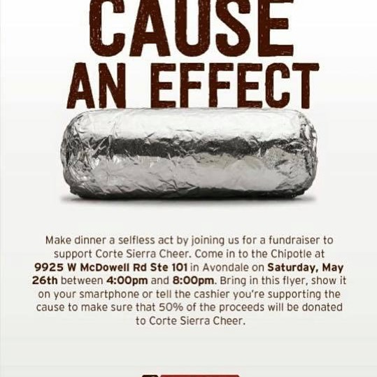 Come and show some support for my niece's cheer team. Info in the picture. #chipotle#whatsfordinner#fundraiser#cheer#az#avondale#goodfood#causeaneffect#cortesierracheer#cortesierra @gloria_vs @paul.lit @steffahny_cs @veronicax4 @ocv_84