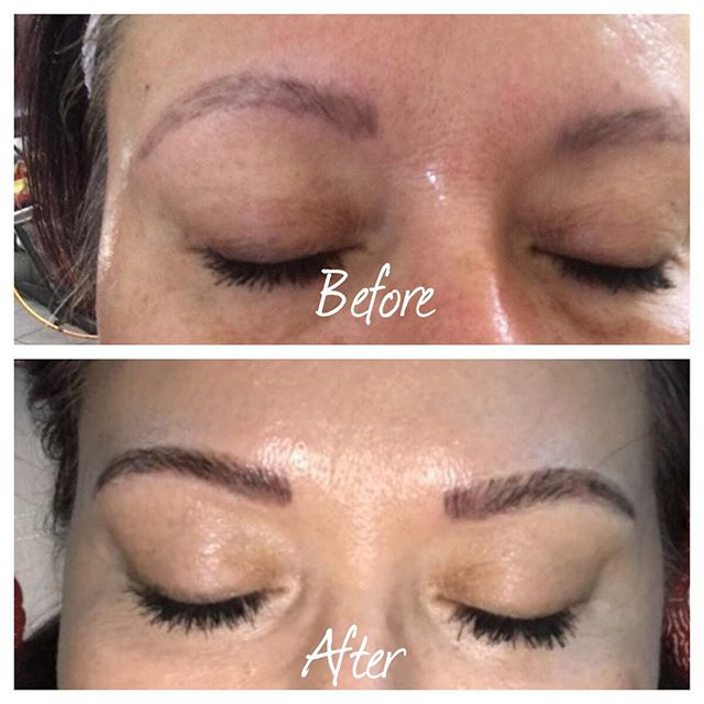 Just another before and after. #eyebrowsonpoint#microbladeaz#microblading#azesthetician#phoenixesthetician#skinspirationboutique#beautifulbrows#esthetician#arcadia#hairstrokes