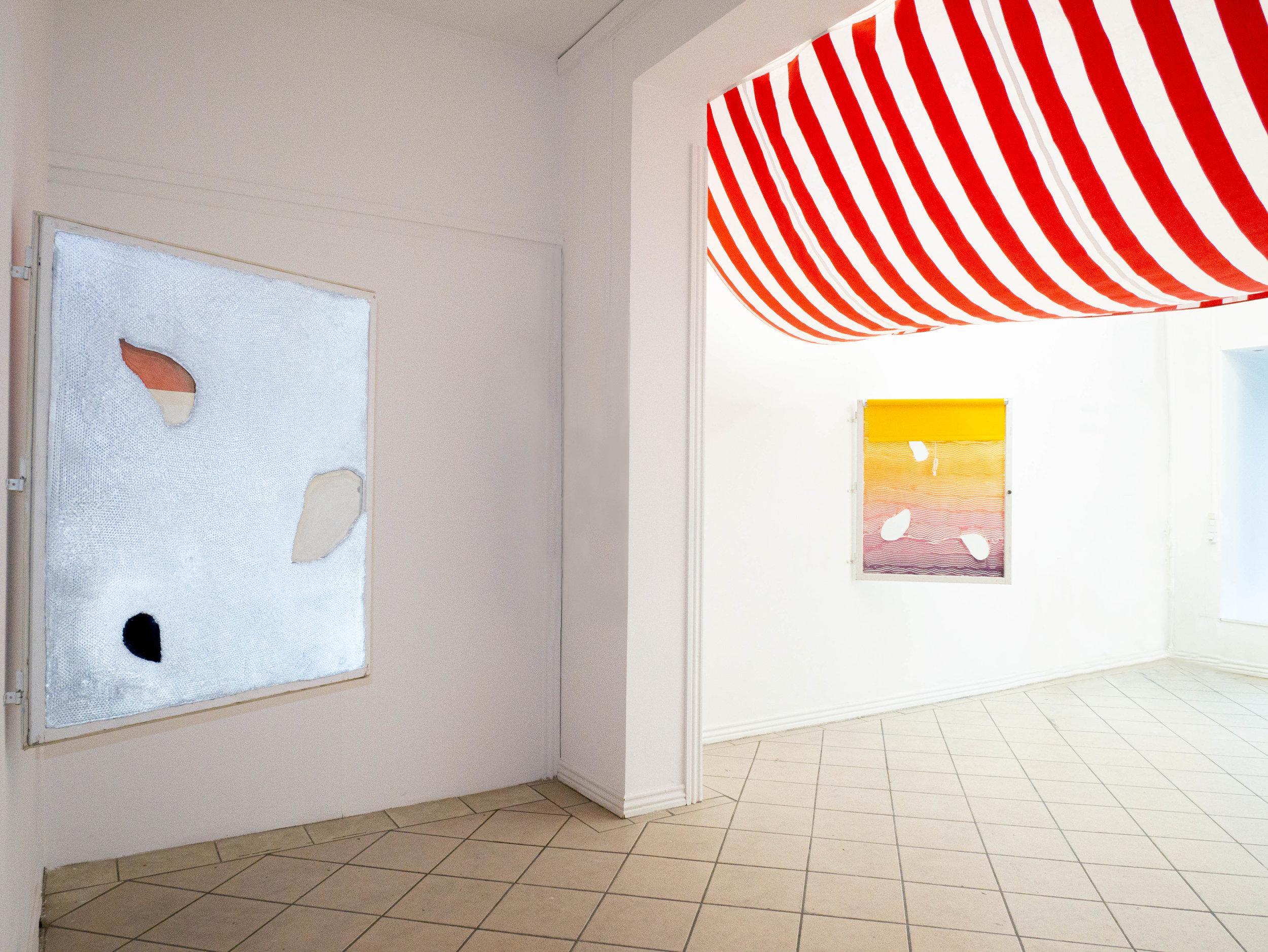 CURB APPEAL Installation view 'Shades of Satellite' (left) & 'Streams of Reverberation' (right) Projektrum Vera, Copenhagen, DK